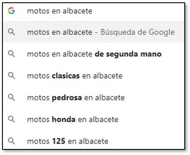 Sugerencias de Google